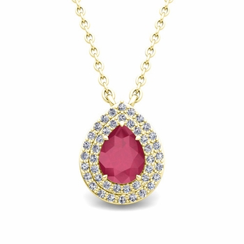 Brilliant Diamond and Pear Ruby Necklace in 18k Gold Drop Pendant