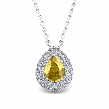 Brilliant Diamond and Pear Yellow Sapphire Necklace in 14k Gold Drop Pendant