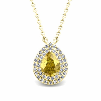 Brilliant Diamond and Pear Yellow Sapphire Necklace in 18k Gold Drop Pendant
