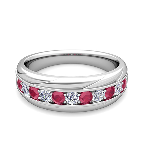 My Love Diamond And Ruby Mens Wedding Band Ring In Platinum