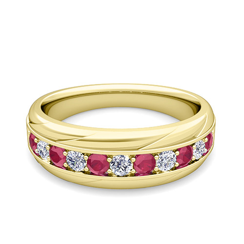 Diamond and Ruby Wedding Anniversary Ring Band in 18k Gold