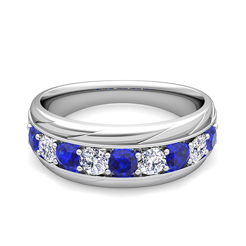 Love Diamond and Sapphire Mens Wedding Band Ring in 14k Gold