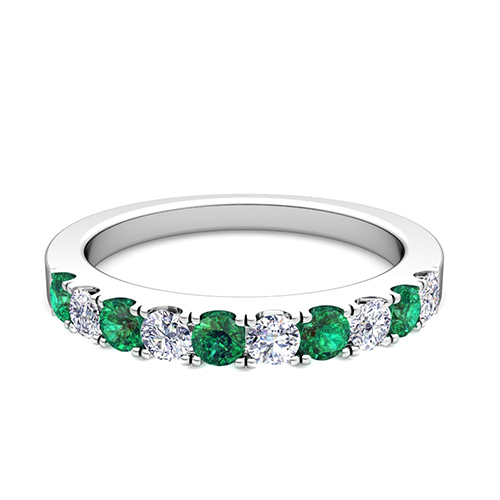 Pave Diamond and Emerald Wedding Anniversary Ring Band in Platinum