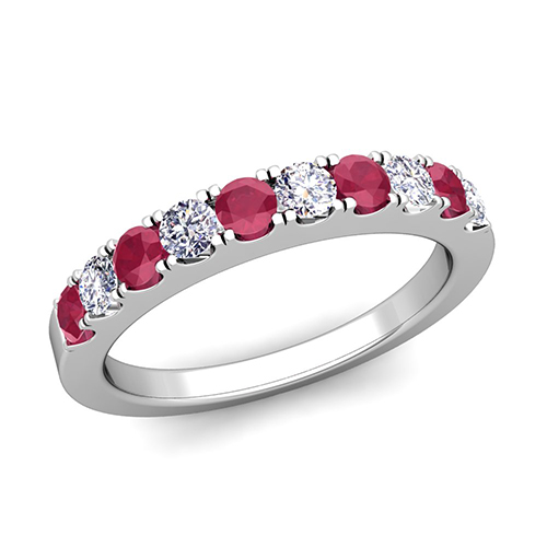 Pave diamond and ruby wedding anniversary ring band in 18k gold order now ships on thursday 830order now ships in 14 business days junglespirit Image collections