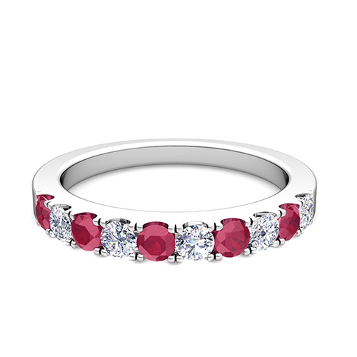 Pave Diamond and Ruby Wedding Anniversary Ring Band in Platinum