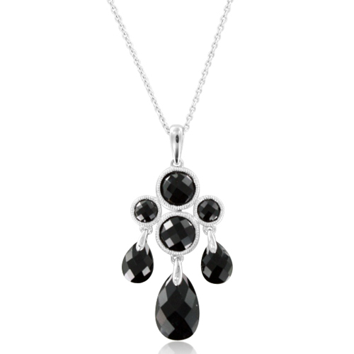 Briolette black onyx drop necklace with 14k white gold chain order now ships on monday 827order now ships in 2 business days briolette black onyx drop necklace aloadofball Choice Image