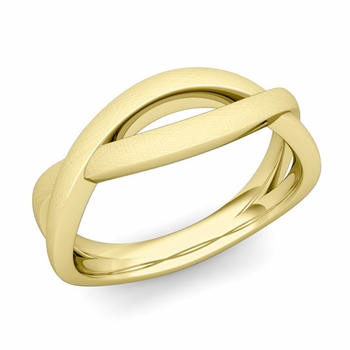 Brushed Finish Infinity Wedding Band Ring in 18k Gold Comfort Fit Band, 6mm