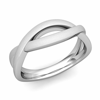 Brushed Finish Infinity Wedding Band Ring in Platinum Comfort Fit Band, 6mm