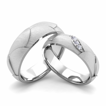 Brushed Finish Matching Wedding Band in 14k Gold 3 Stone Diamond Wedding Rings
