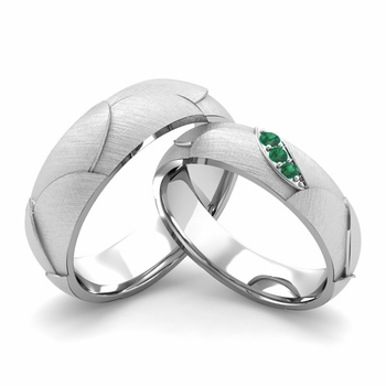 Brushed Finish Matching Wedding Band in 14k Gold 3 Stone Emerald Wedding Rings