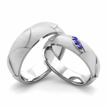 Brushed Finish Matching Wedding Band in 14k Gold 3 Stone Sapphire Wedding Rings
