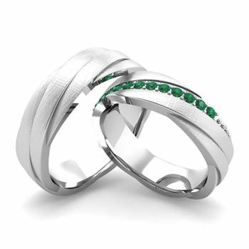 Brushed Finish Matching Wedding Band in 14k Gold Emerald Rolling Wedding Rings