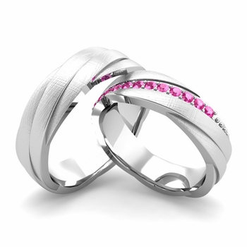Brushed Finish Matching Wedding Band in 14k Gold Pink Sapphire Rolling Wedding Rings