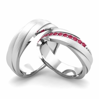 Brushed Finish Matching Wedding Band in 14k Gold Ruby Rolling Wedding Rings