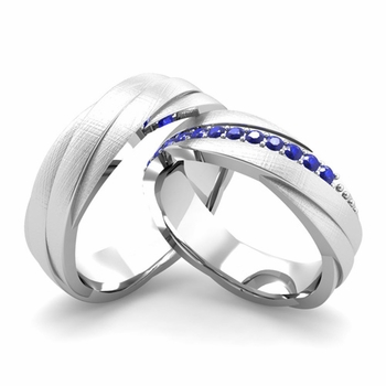 Brushed Finish Matching Wedding Band in 14k Gold Sapphire Rolling Wedding Rings