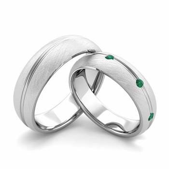 Brushed Finish Matching Wedding Band in 14k Gold Wave Emerald Wedding Rings