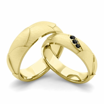 Brushed Finish Matching Wedding Band in 18k Gold 3 Stone Black Diamond Wedding Rings