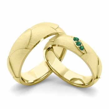 Brushed Finish Matching Wedding Band in 18k Gold 3 Stone Emerald Wedding Rings