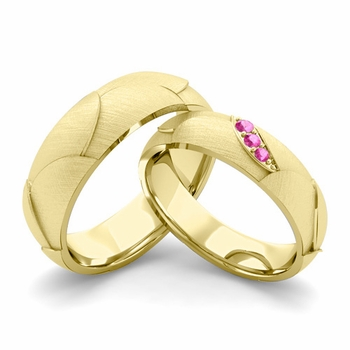 Brushed Finish Matching Wedding Band in 18k Gold 3 Stone Pink Sapphire Wedding Rings