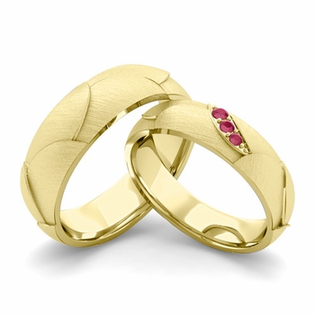 Brushed Finish Matching Wedding Band in 18k Gold 3 Stone Ruby Wedding Rings