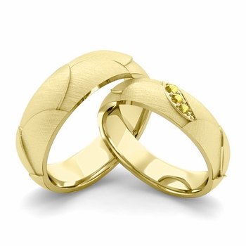 Brushed Finish Matching Wedding Band in 18k Gold 3 Stone Yellow Sapphire Wedding Rings