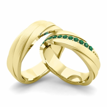 Brushed Finish Matching Wedding Band in 18k Gold Emerald Rolling Wedding Rings