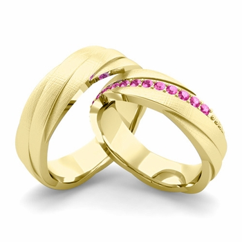Brushed Finish Matching Wedding Band in 18k Gold Pink Sapphire Rolling Wedding Rings