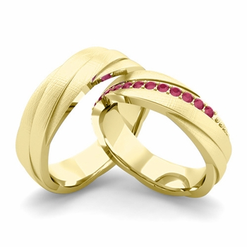 Brushed Finish Matching Wedding Band in 18k Gold Ruby Rolling Wedding Rings