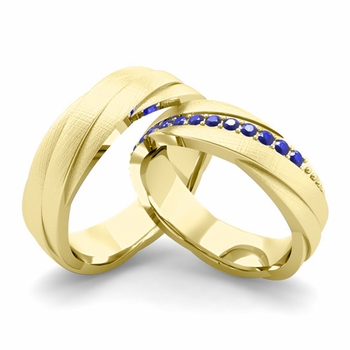 Brushed Finish Matching Wedding Band in 18k Gold Sapphire Rolling Wedding Rings