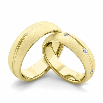 Brushed Finish Matching Wedding Band in 18k Gold Wave Diamond Wedding Rings