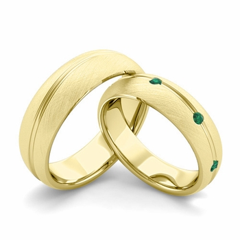 Brushed Finish Matching Wedding Band in 18k Gold Wave Emerald Wedding Rings