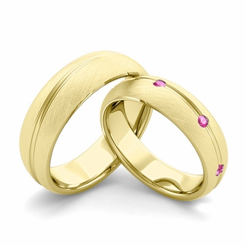 Brushed Finish Matching Wedding Band in 18k Gold Wave Pink Sapphire Wedding Rings