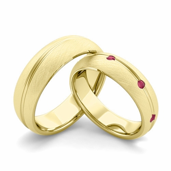 Brushed Finish Matching Wedding Band in 18k Gold Wave Ruby Wedding Rings