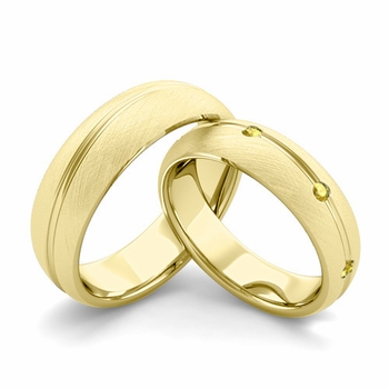 Brushed Finish Matching Wedding Band in 18k Gold Wave Yellow Sapphire Wedding Rings