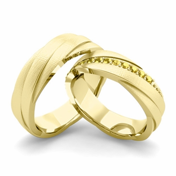 Brushed Finish Matching Wedding Band in 18k Gold Yellow Sapphire Rolling Wedding Rings
