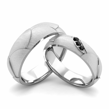 Brushed Finish Matching Wedding Band in Platinum 3 Stone Black Diamond Wedding Rings