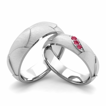 Brushed Finish Matching Wedding Band in Platinum 3 Stone Ruby Wedding Rings
