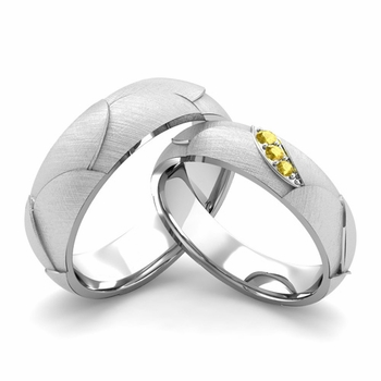 Brushed Finish Matching Wedding Band in Platinum 3 Stone Yellow Sapphire Wedding Rings