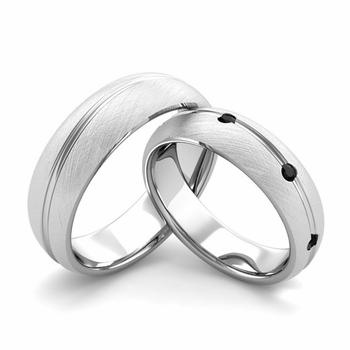Brushed Finish Matching Wedding Band in Platinum Wave Black Diamond Wedding Rings