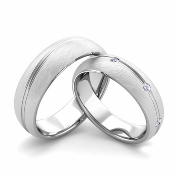 Brushed Finish Matching Wedding Band in Platinum Wave Diamond Wedding Rings