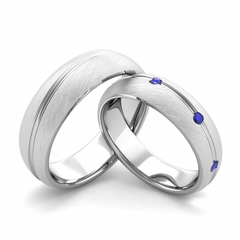 Brushed Finish Matching Wedding Band in Platinum Wave Sapphire Wedding Rings
