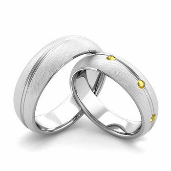 Brushed Finish Matching Wedding Band in Platinum Wave Yellow Sapphire Wedding Rings