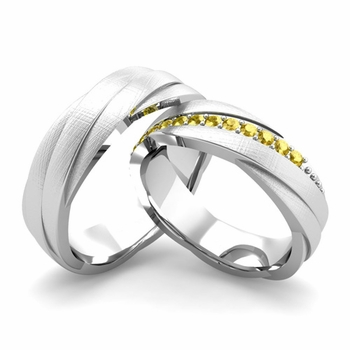 Brushed Finish Matching Wedding Band in Platinum Yellow Sapphire Rolling Wedding Rings