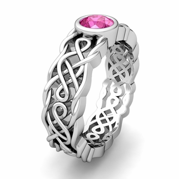 Build Celtic Knot Wedding Band Anniversary Ring with Diamonds and Gemstones