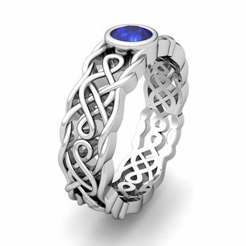 Build Celtic Knot Wedding Band Ring for Men with Gemstones and Diamonds