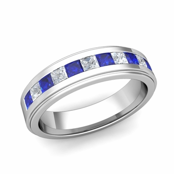 Build Princess Cut Wedding Band Ring for Men with Gemstones and Diamonds