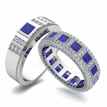 Build Princess Cut Wedding Ring Band for Him and Her with Diamonds and Gemstones