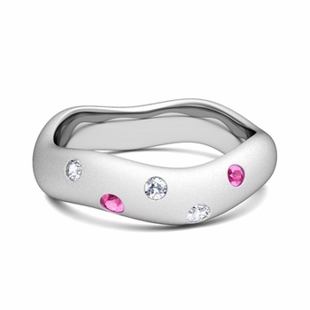 Build Wedding Anniversary Ring in Wave Wedding Band Setting with Diamonds Gemstones