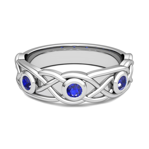 Celtic Knot Sapphire Wedding Ring Band In 14k Gold My Love