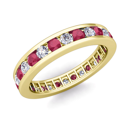 Channel Set Diamond And Ruby Eternity Band Ring In 14k Gold